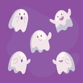 Handgetekende platte halloween-geestencollectie