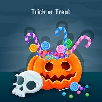 Handgetekende platte halloween-illustratie