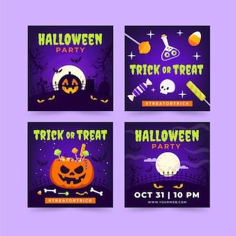 Handgetekende platte halloween instagram posts collectie