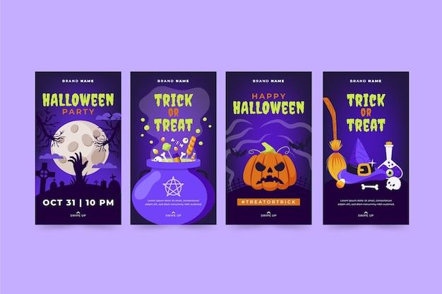 Handgetekende platte halloween instagram verhalencollectie