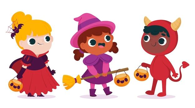 Handgetekende platte halloween kindercollectie