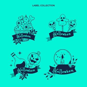Handgetekende platte halloween-labelscollectie