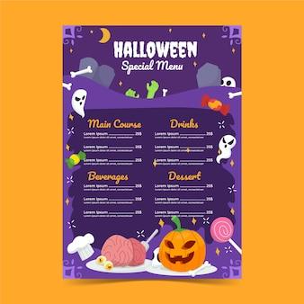Handgetekende platte halloween menusjabloon