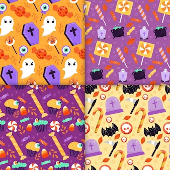 Handgetekende platte halloween-patronen