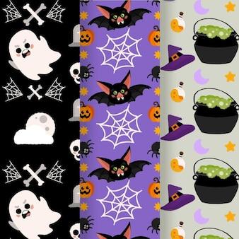 Handgetekende platte halloween-patronencollectie