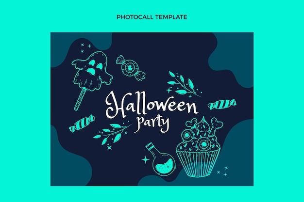 Handgetekende platte halloween photocall-sjabloon