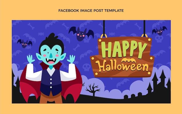 Handgetekende platte halloween-postsjabloon voor sociale media
