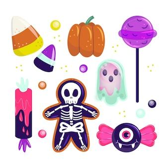 Handgetekende platte halloween snoepcollectie Gratis Vector