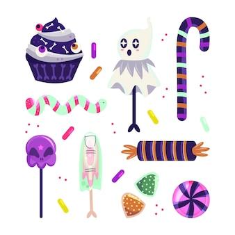 Handgetekende platte halloween snoepcollectie