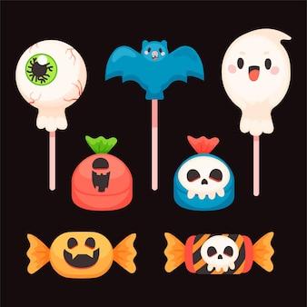 Handgetekende platte halloween-snoepcollectie