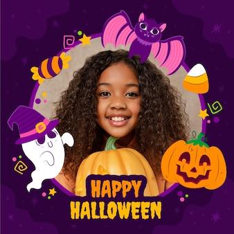 Handgetekende platte halloween sociale media framesjabloon