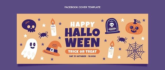 Handgetekende platte halloween sociale media voorbladsjabloon
