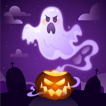 Handgetekende platte halloween-spookillustratie