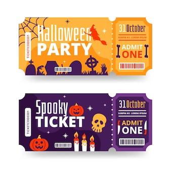 Handgetekende platte halloween-ticketscollectie