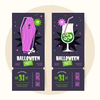 Handgetekende platte halloween-ticketsjabloon
