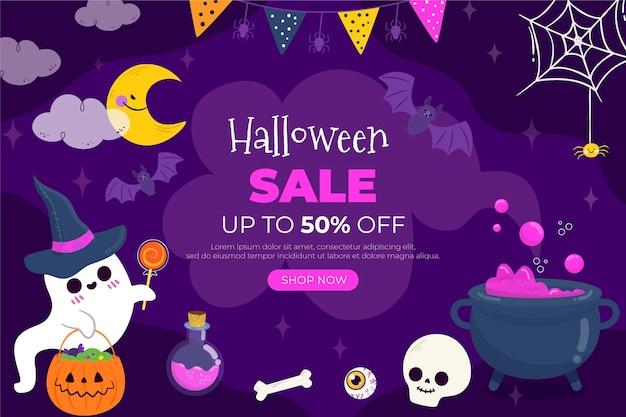Handgetekende platte halloween-verkoop horizontale banner