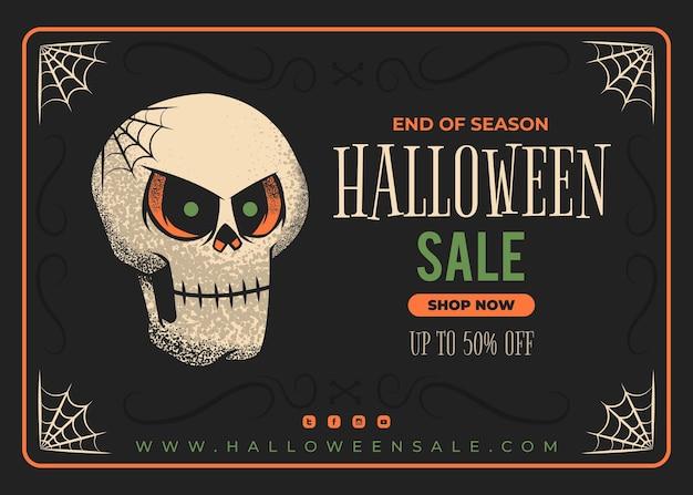 Handgetekende platte halloween-verkoopillustratie