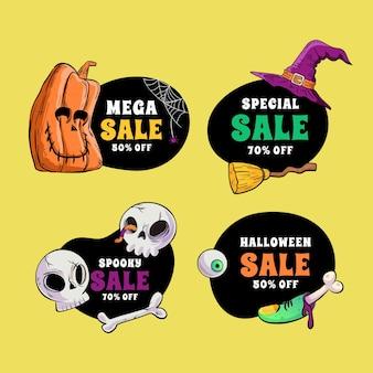 Handgetekende platte halloween-verkooplabelscollectie