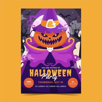 Handgetekende platte halloween verticale postersjabloon