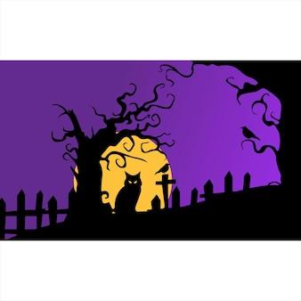 Handgetekende platte halloween wallpaper en achtergrond