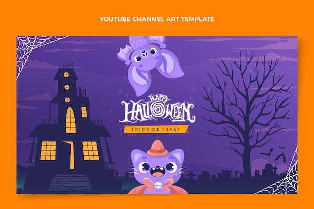 Handgetekende platte halloween youtube-kanaalkunst