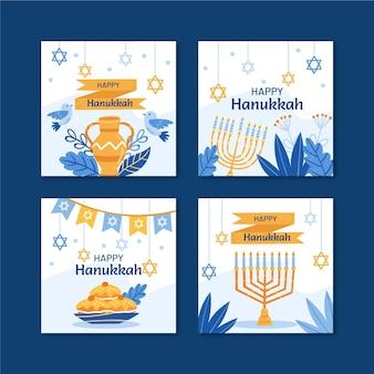 Handgetekende platte hanukkah instagram posts collectie