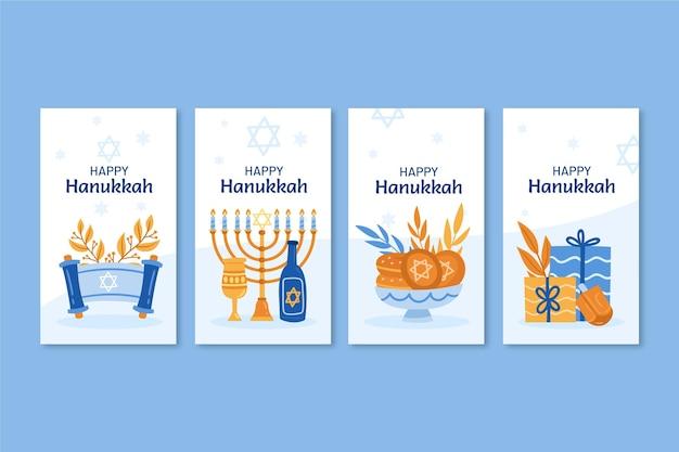Handgetekende platte hanukkah instagram verhalencollectie