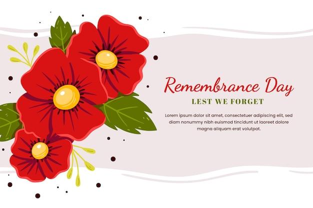 Handgetekende platte herdenkingsdag achtergrond
