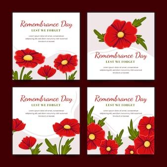 Handgetekende platte herdenkingsdag instagram posts collectie