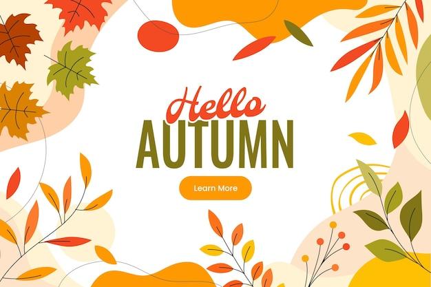 Handgetekende platte herfst horizontale banner tenokate