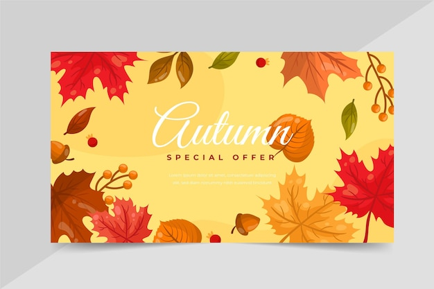 Handgetekende platte herfst horizontale banner