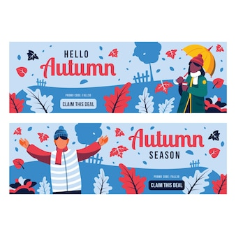 Handgetekende platte herfst horizontale banners set
