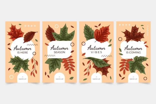 Handgetekende platte herfst instagram verhalencollectie