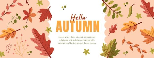 Handgetekende platte herfst sociale media voorbladsjabloon
