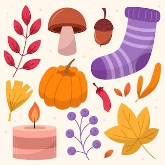 Handgetekende platte herfstelementencollectie