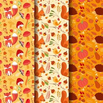 Handgetekende platte herfstpatronencollectie