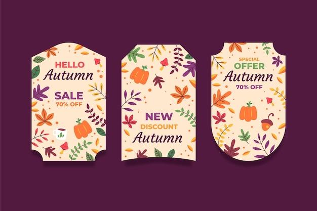 Handgetekende platte herfstverkoop labels collectie
