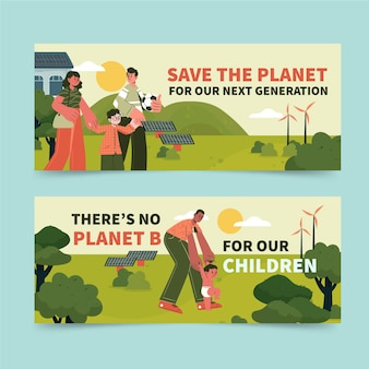 Handgetekende platte horizontale banners voor klimaatverandering