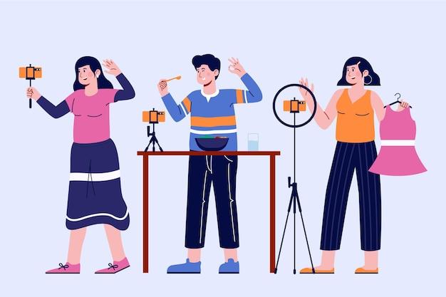 Handgetekende platte illustratie van bloggers