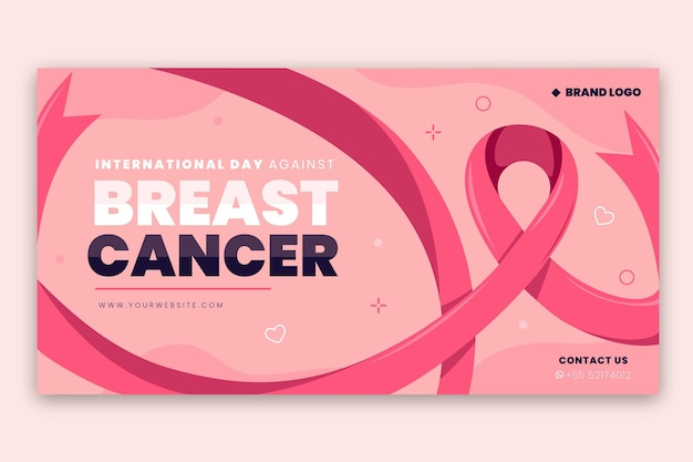 Handgetekende platte internationale dag tegen borstkanker social media postsjabloon