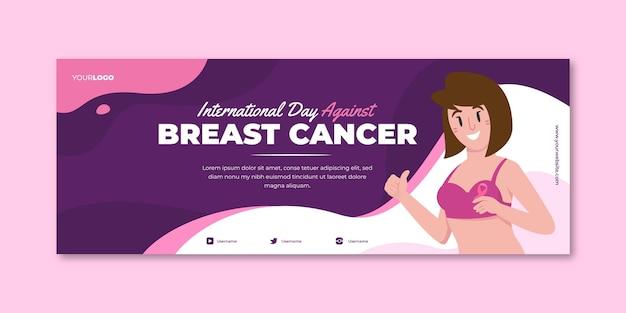 Handgetekende platte internationale dag tegen borstkanker sociale media voorbladsjabloon