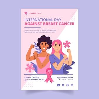 Handgetekende platte internationale dag tegen borstkanker verticale flyer-sjabloon