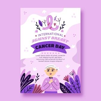 Handgetekende platte internationale dag tegen verticale postersjabloon voor borstkanker