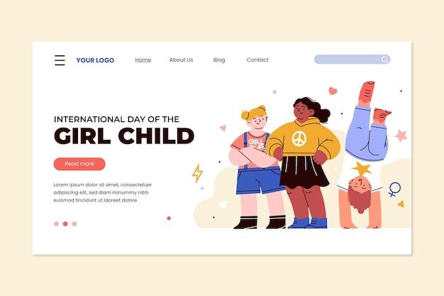 Handgetekende platte internationale dag van de bestemmingspagina-sjabloon voor meisjes