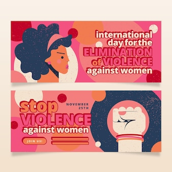 Handgetekende platte internationale dag voor de uitbanning van geweld tegen vrouwen horizontale banners set