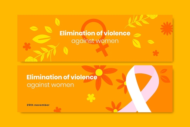 Handgetekende platte internationale dag voor de uitbanning van geweld tegen vrouwen horizontale bannerset