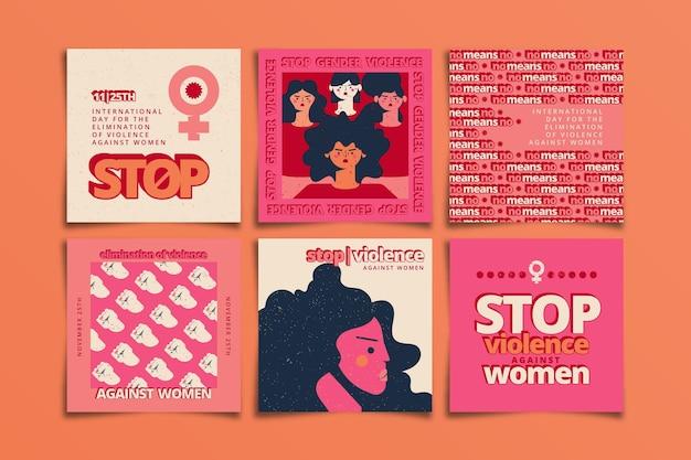 Handgetekende platte internationale dag voor de uitbanning van geweld tegen vrouwen instagram posts collectie