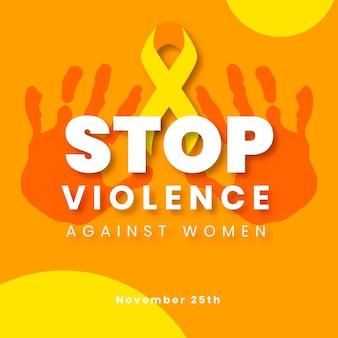 Handgetekende platte internationale dag voor de uitbanning van geweld tegen vrouwen instagram postsjabloon