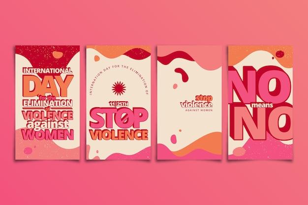 Handgetekende platte internationale dag voor de uitbanning van geweld tegen vrouwen instagramverhalencollectie