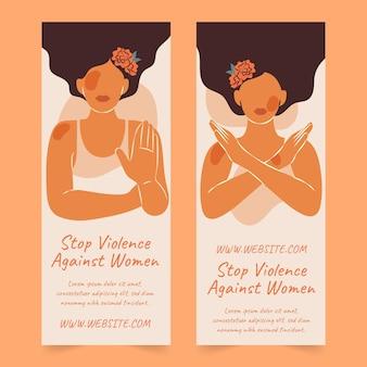 Handgetekende platte internationale dag voor de uitbanning van geweld tegen vrouwen verticale banners set
